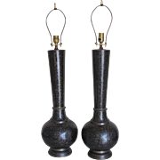 Pair of Black and Gold Cloissone Vintage Lamps