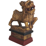 """Small Gold Gilded Carved Chinese Dragon -6.25""""Tall"""