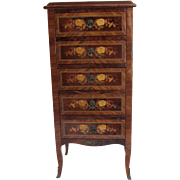 Italian Marquetry Floral Inlaid Small Chest of Drawers