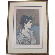 """REDUCED """"Marcelle"""" Print by Toulouse Lautrec- Circa 1950"""