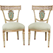 SALE Pair of Neoclassical Hand Painted Italian Chairs-Stunning!