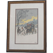 "SALE Harry Eliott Framed and Signed Lithograph-""Gale"""