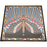 "Erté Signed and Framed Silk Scarf- ""The Nile"""