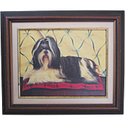 SALE Vintage Lhasa Apso Framed Print on Canvas