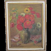 "SALE Signed Original Vintage Floral Still Life Painting-27x21"""
