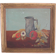 "SALE Original Signed ""Harvest Fruit in Majollica Pitcher"" Oil Painting-1946"