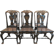 Historical Set of 6 Antique Chinese Chippendale Dining Chairs