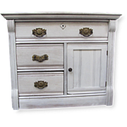 SALE Refurbished Antique Night Stand with Ornate Brass Drawer Pulls