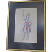 Pastel Folk Dancer Drawing Original by Barlow