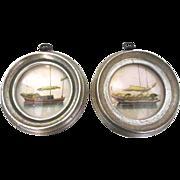 SALE Pair of Round Framed Boat Engravings