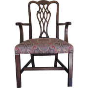 SALE Antique Chippendale Chair with Paisley Seat