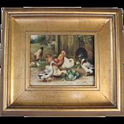 """SALE """"Farmhouse Feeding""""-Framed Vintage Oil on Crackle Canvas"""