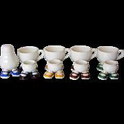 9 pc Vintage Walking Ware Egg Cup and Mug Set-Carlton England