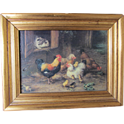 SALE Vintage Barnyard Scene Hand Touched Print