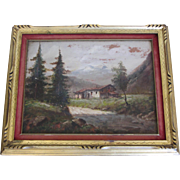 19th Century Landscape Cabin Painting-Signed