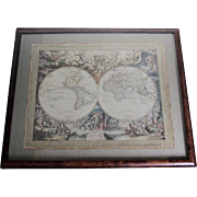 SALE Antique Mythological Atlas in Burl Frame