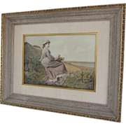 "SALE ""Alone"" Framed Colored Lithograph- John Gonzalez, SPAIN c 1876"