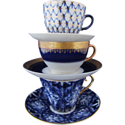 Assorted Trio of Vintage Blue & White Cup and Saucers