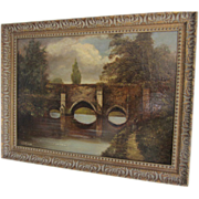 REDUCED ANTIQUE Bridge Over Water Painting- Oil on Wood-signed