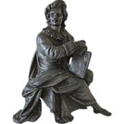 SALE Seated Man with Book Metal Figurine