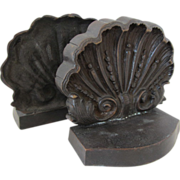 REDUCED Pair of Vintage Metal Scallop Shell Bookends