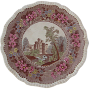 "SALE ""Spode's Tower"" Vintage Polychrome Transfer Ware Plate  10.5"""