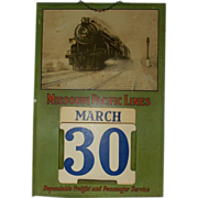"SALE 1930's-40""s Missouri Pacific Lines Railroad Perpetual Calendar Steam Engine 6615"
