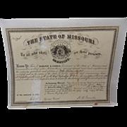 SOLD Antique Civil War Promotion Document Company H-17th Regiment Missouri Volunteers