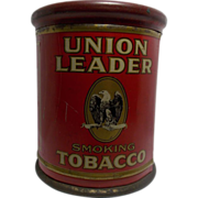 SALE Vintage Union Leader Smoking Tobacco Tin Humidor