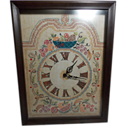 SALE Vintage Clock with Hand Stitched Embroidered Clock Face and Hand Built Case