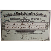 SALE 1874 Rockford, Rock Island & St. Louis Railroad Company Pass