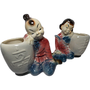 SALE Vintage Royal Copley Boy and Girl Leaning on Urns Planters