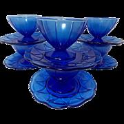 SOLD Vintage Cobalt Blue Hazel Atlas Newport (Hairpin) Sherbets and Under plates