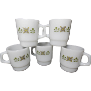 Vintage Fire-King Meadow Green Coffee Mugs