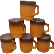 SALE Vintage Fire King Brown and Orange Stackable Mugs