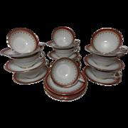 Vintage Aynsley Durham-Maroon Tea Cups and Saucers