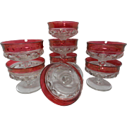 Vintage Ruby Tiffin King's Crown/Thumbprint Sundae/Sherbets