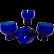 SALE Vintage Louie Glass Plant Chico Marx Pattern Cobalt Blue Glasses