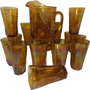 SOLD Vintage Amber Marigold Indiana Harvest Grape Carnival Pitcher and 12 Water Glasses