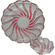 REDUCED Vintage German Peppermint Swirl Lead Crystal Chip and Dip Set