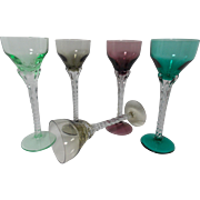 Vintage set of 5 Hand Blown European Cordials