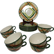 Beautiful Vintage California Pottery Cups (7) and Saucers Tam O'Shanter Pattern