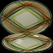 Beautiful Vintage California Pottery Platters Tam O'Shanter Pattern