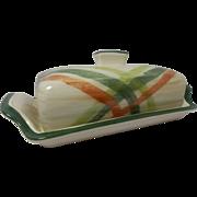 Beautiful Vintage California Pottery Butter Dish Tam O'Shanter Pattern