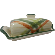 Beautiful Vintage California Pottery Butter Dish Tam O'Shanter Pattern