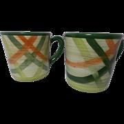 Beautiful Vintage California Pottery Small Mugs (2) Tam O'Shanter Pattern