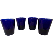Vintage Cobalt Blue Shot Glasses