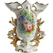 Vista Alegra Porcelain Vase with Gold Trim and Floral Design Made in Portugal