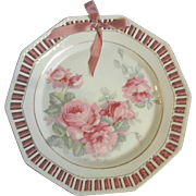 Lovely Vintage Schumann Bavaria Pink Roses Reticulated Plate with Pink Woven Ribbon