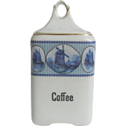 Pretty Blue and White Vintage Schwarzburg German Coffee Canister with Dutch Windmill and Ship